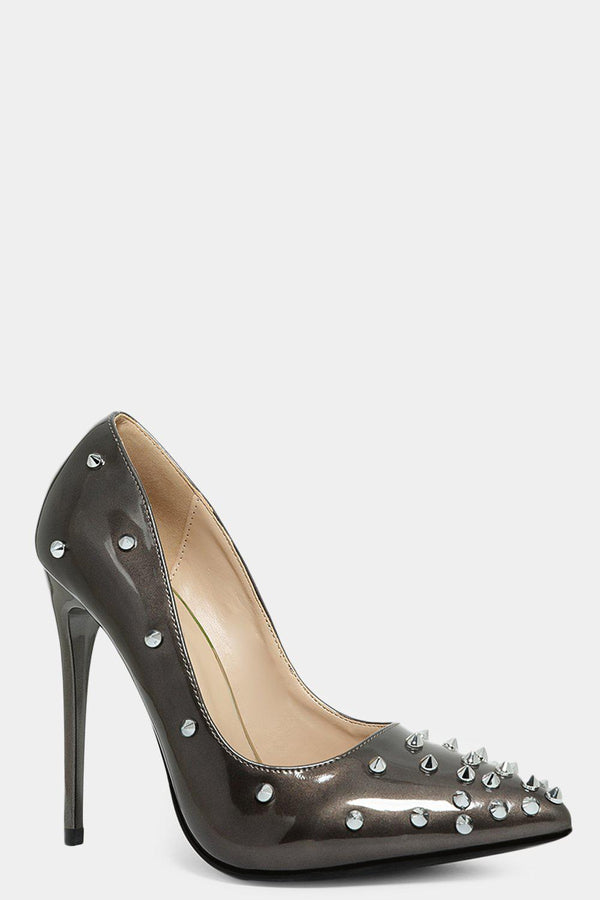 Grey Studded Spikes Embellished Patent Stiletto Heels