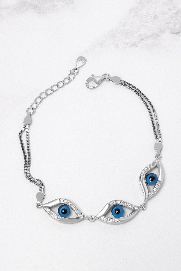 Silver 925 Three CZ Encrusted Evil Eyes Bracelet-SinglePrice