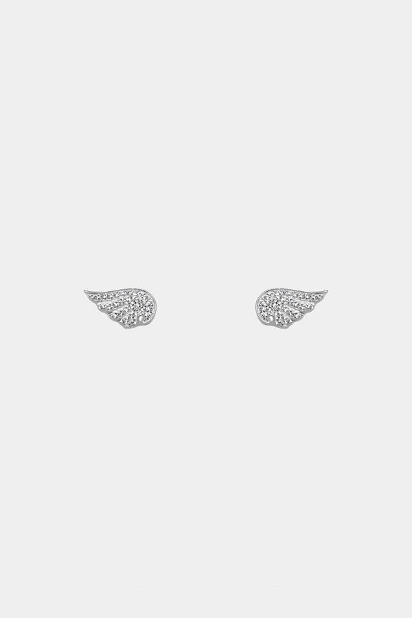 Silver 925 CZ Pave Wings Stud Earrings - SinglePrice