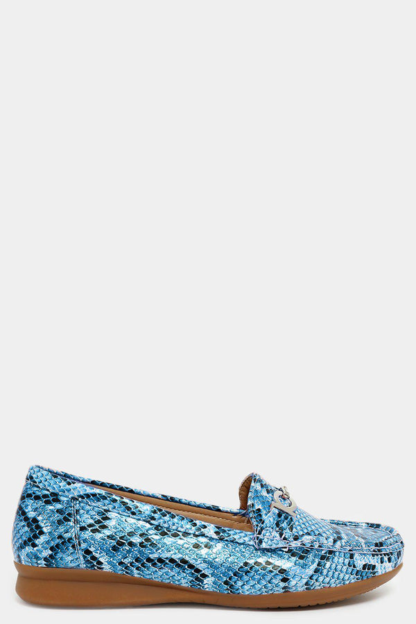 Blue Python Print Metallic Buckle Loafers