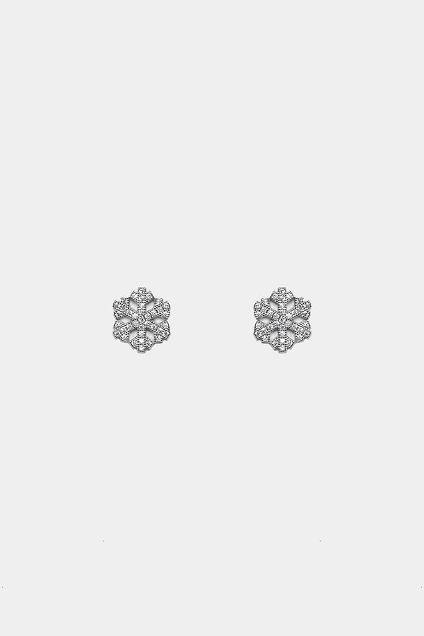 Silver 925 CZ Pave Snowflake Stud Earrings - SinglePrice
