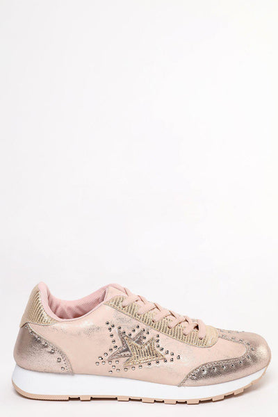 Aged Metallic Finish Gold Studded Trainers-SinglePrice