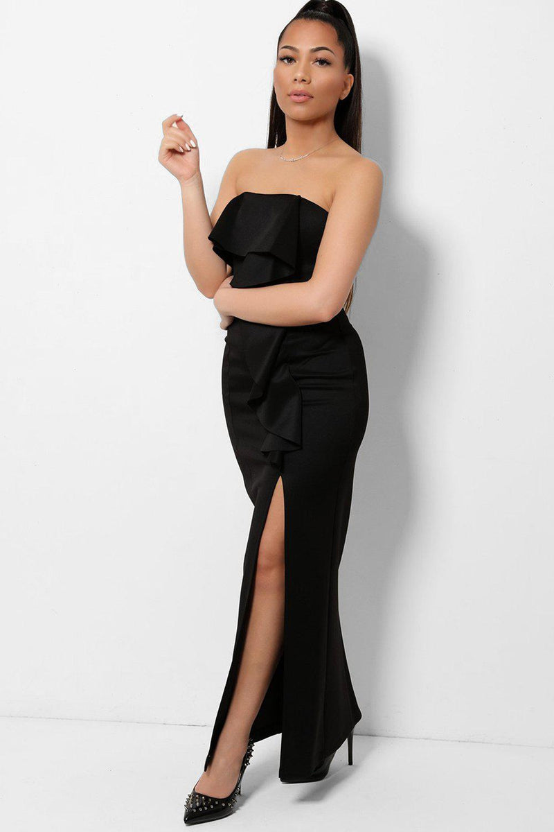 Black Bandeau Ruffle Midi Dress - SinglePrice