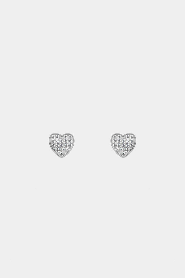 Silver 925 CZ Pave Hearts Stud Earrings - SinglePrice