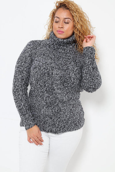 Oversized Turtleneck Braid Knit Front Grey Jumper-SinglePrice