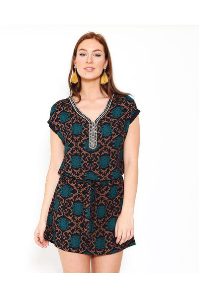 Beads Embellished Neckline Navy Belted Dress-SinglePrice