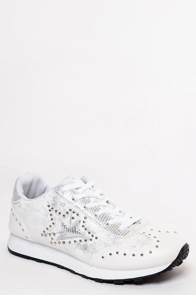 Aged Metallic Finish White Studded Trainers-SinglePrice