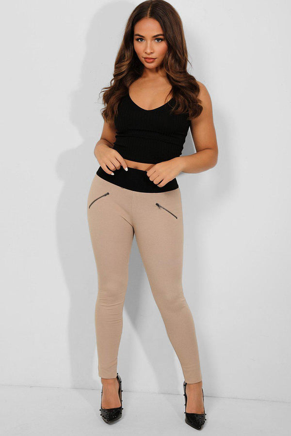 Beige Wide Elastic Waistband Zipper Treggings