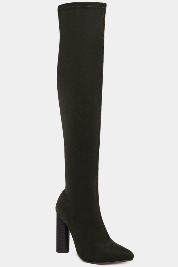 Khaki Stretch Neoprene Over The Knee Pointy Boots-SinglePrice