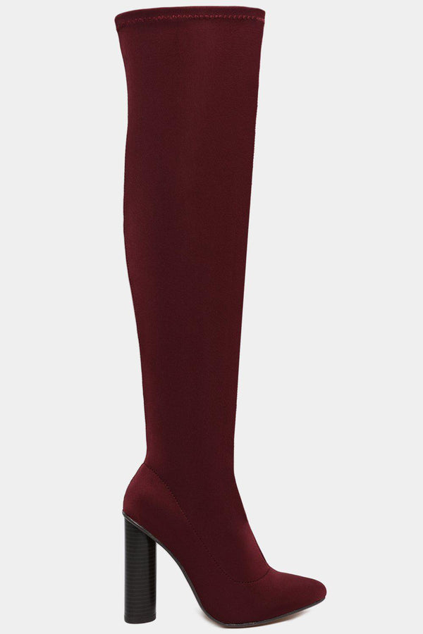 Burgundy Stretch Neoprene Over The Knee Pointy Boots-SinglePrice
