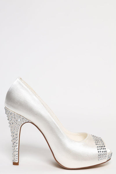 Crystal Embellished Heel And Peep-Toe Heels-SinglePrice