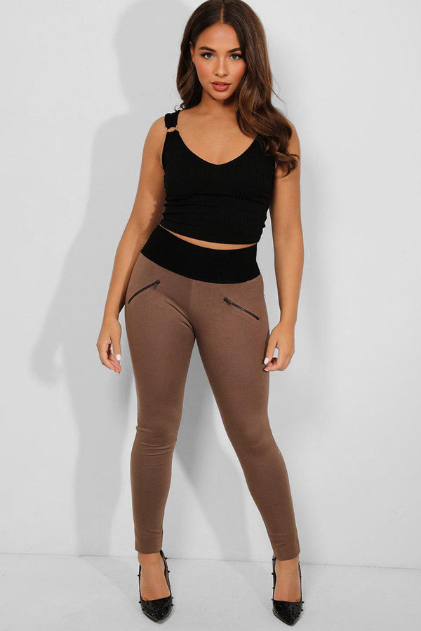 Taupe Wide Elastic Waistband Zipper Treggings