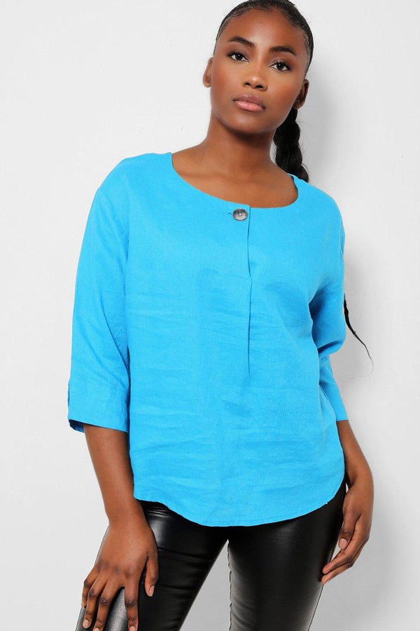 Blue One Button Front 100% Linen Top - SinglePrice