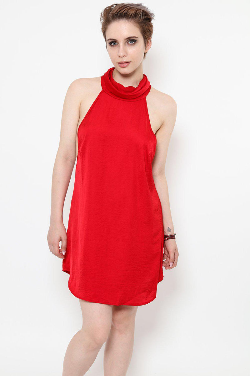 Red Halter-Neck Slip Dress-SinglePrice