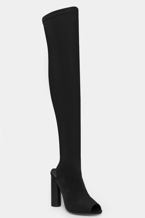 Black Stretch Neoprene Over The Knee Peep Toe Boots - SinglePrice