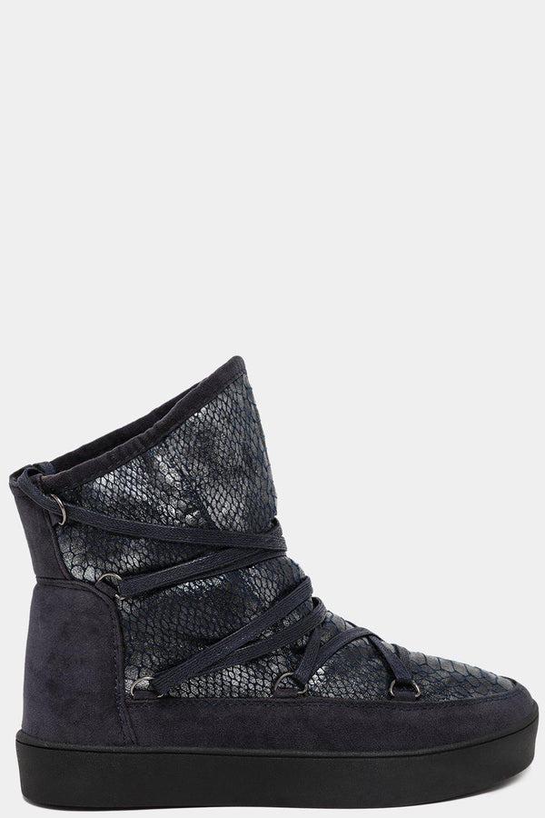 Blue Snakeskin Effect Vegan Suede Snow Boots-SinglePrice