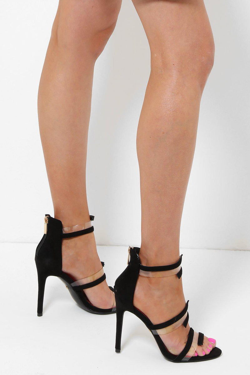 Transparent Details Black Barely There Heels-SinglePrice