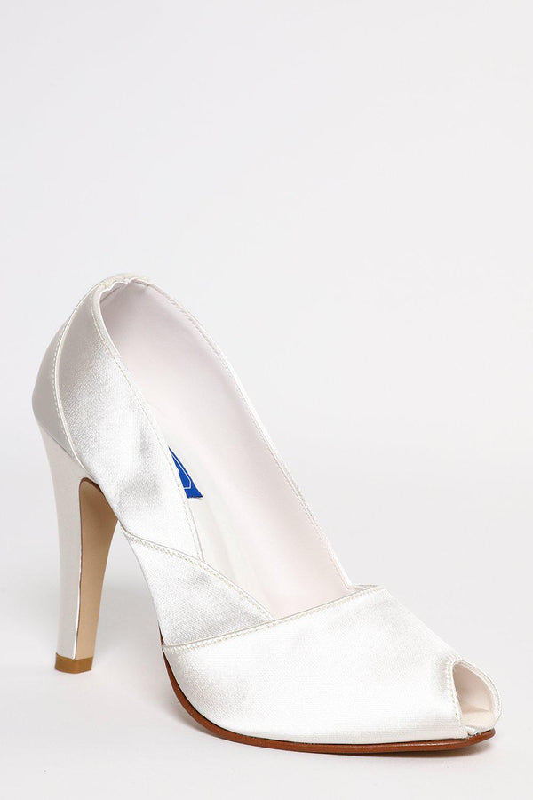 Mini Peep-Toe Panelled Cream Satin Court Shoes - SinglePrice