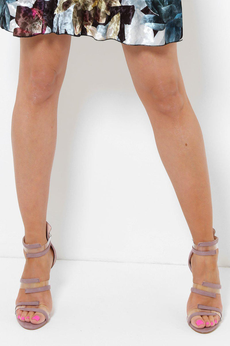 Transparent Details Purple Barely There Heels-SinglePrice