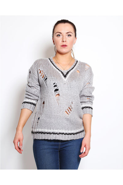 Grey Ripped Soft Pullover-SinglePrice