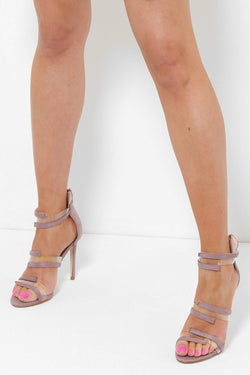 Transparent Details Purple Barely There Heels - SinglePrice