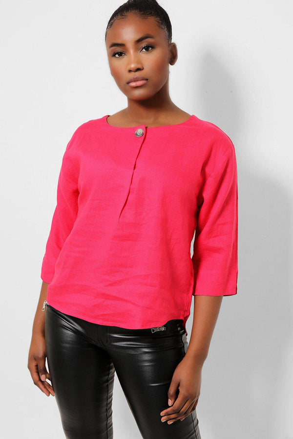 Hot Pink One Button Front 100% Linen Top - SinglePrice