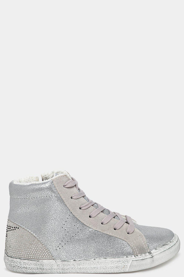 Silver Worn Effect Fabric-Lined Shimmer Trainers