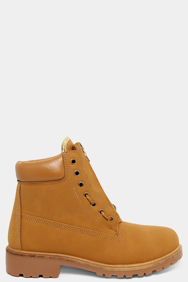 Camel Gold Details Zip Front Ankle Boots-SinglePrice