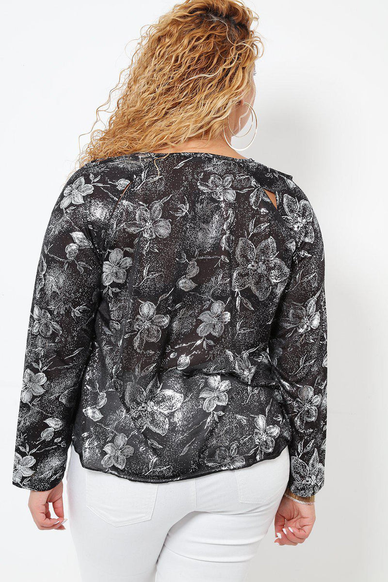 Metallic Floral Print Cut Out Details Top - SinglePrice