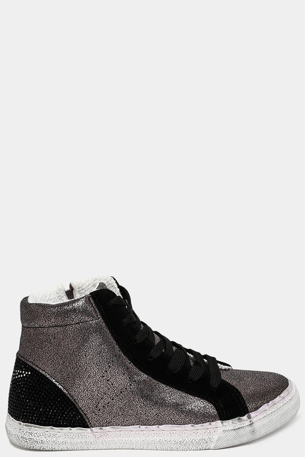 Black Worn Effect Fabric-Lined Shimmer Trainers