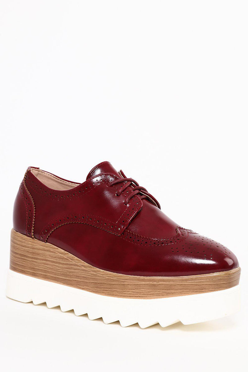 Cleated Faux Wooden Wedge Red Patent Brogues - SinglePrice