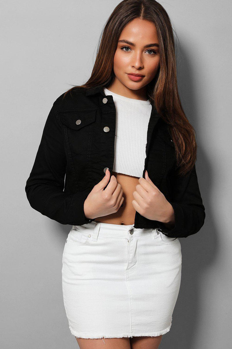 Black Cropped Raw Hem Denim Jacket - SinglePrice
