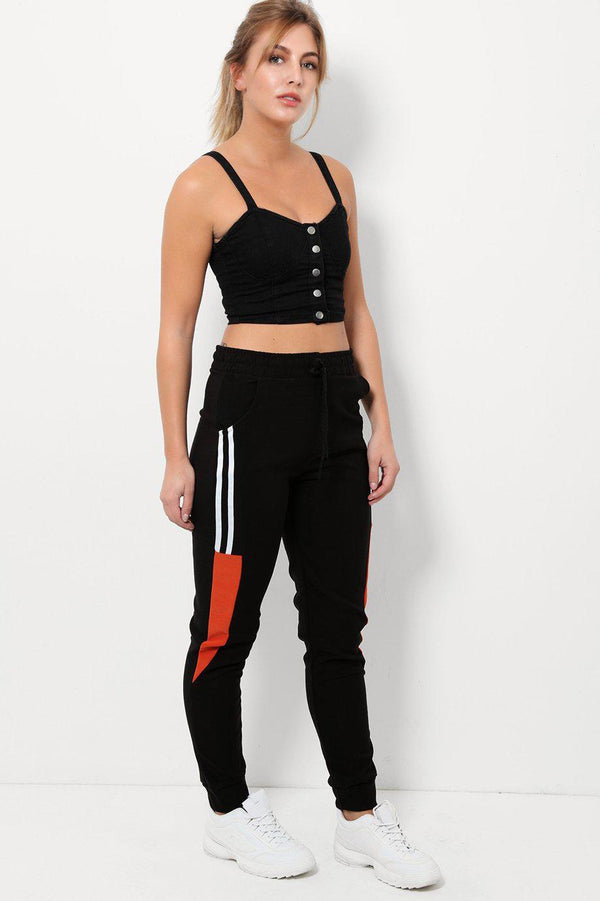 Twin Stripe Rust Colour Block Sport Bottoms - SinglePrice