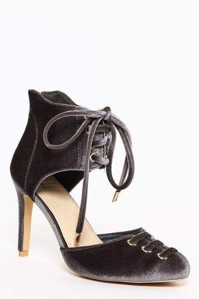 Lace-Up Toe Cap & Calf Grey Velvet Heels-SinglePrice