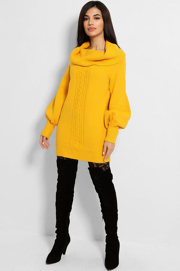 Bright Yellow Cowl Neck Knitted Jumper - SinglePrice