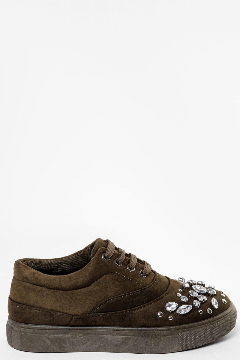 Jewell Encrusted Khaki Trainers - SinglePrice
