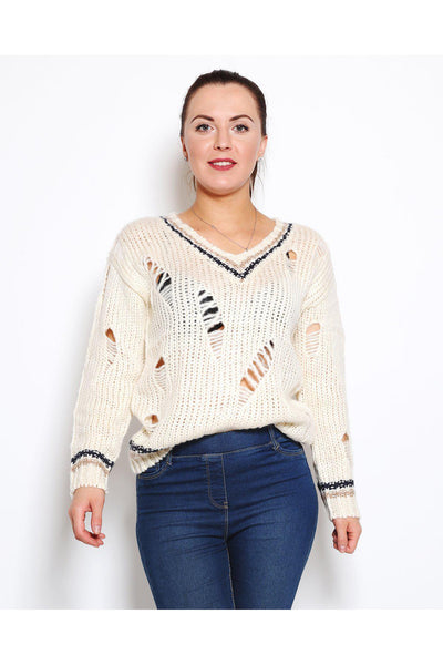 Beige Ripped Soft Pullover-SinglePrice