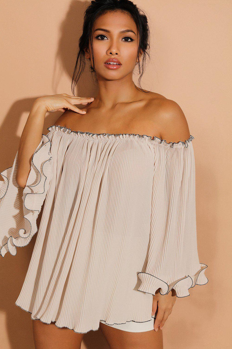 Black Piping Beige Pleated Sheer Chiffon Off Shoulder Blouse - SinglePrice