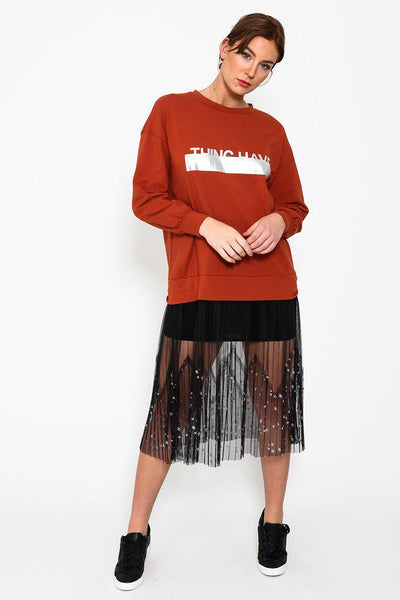Brick Red Star Meshed Skirt Printed Jumper Dress-SinglePrice