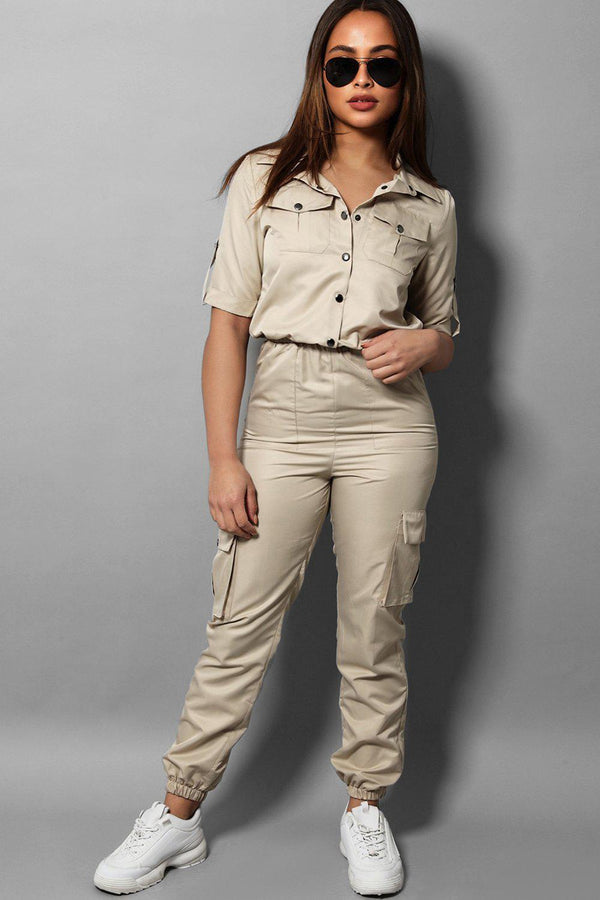 Sand Parachute Fabric Utility Boiler Jumpsuit - SinglePrice