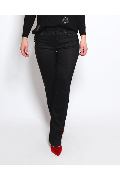 Black Straight Leg Textured Trousers-SinglePrice