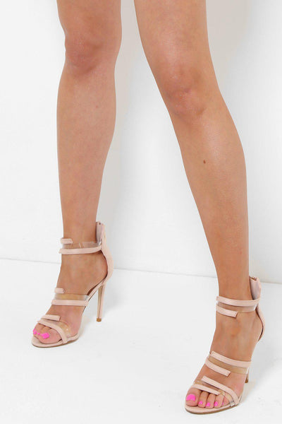 Transparent Details Beige Barely There Heels-SinglePrice