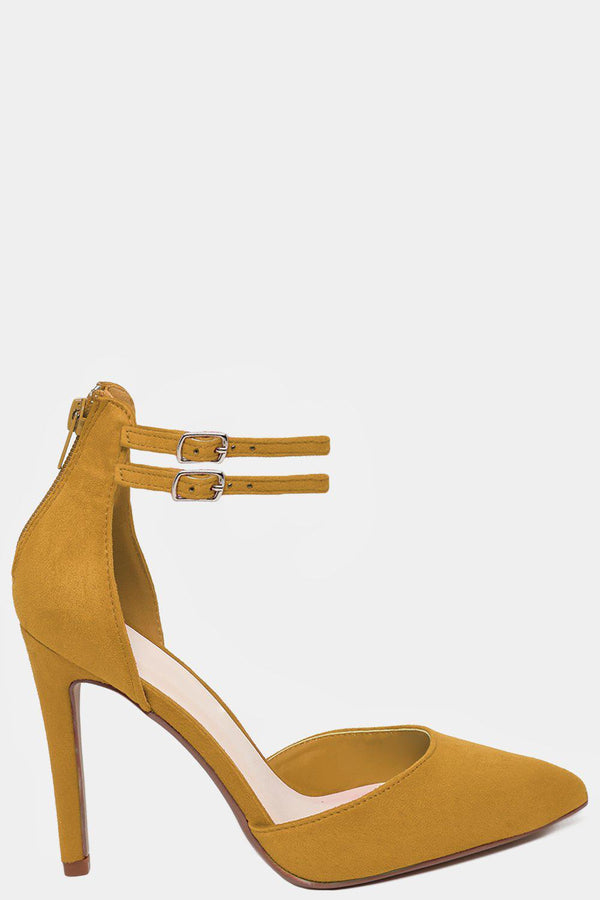 Twin Ankle Strap Vegan Suede Yellow High Heels-SinglePrice