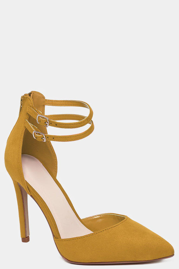 Twin Ankle Strap Vegan Suede Yellow High Heels - SinglePrice