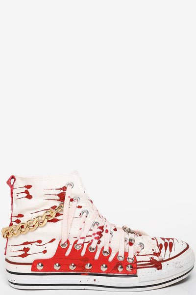 Chain And Glitter Details Red Studded Laced Trainers-SinglePrice
