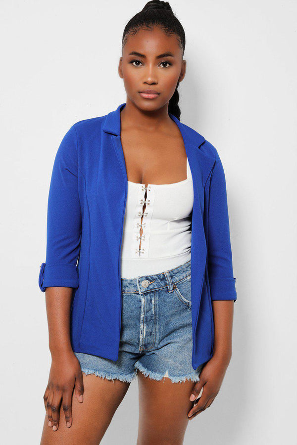Royal Blue Rolled Sleeves Open Front Blazer - SinglePrice