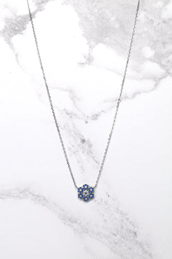 Silver 925 Blue CZ Encrusted Snowflake Necklace - SinglePrice