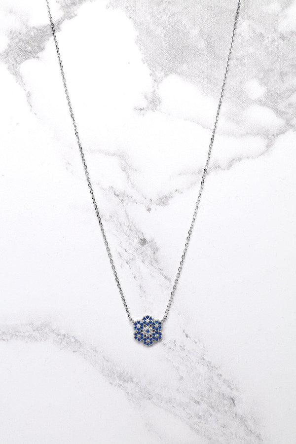 Silver 925 Blue CZ Encrusted Snowflake Necklace-SinglePrice