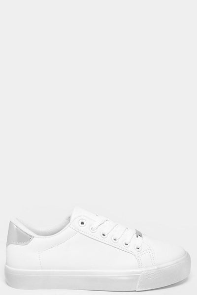 Silver PU Panel White Classic Trainers-SinglePrice