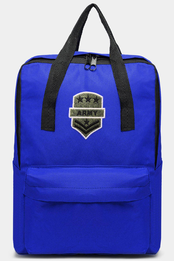 Dark Blue Canvas Patched Multiwear Travel Backpack-SinglePrice